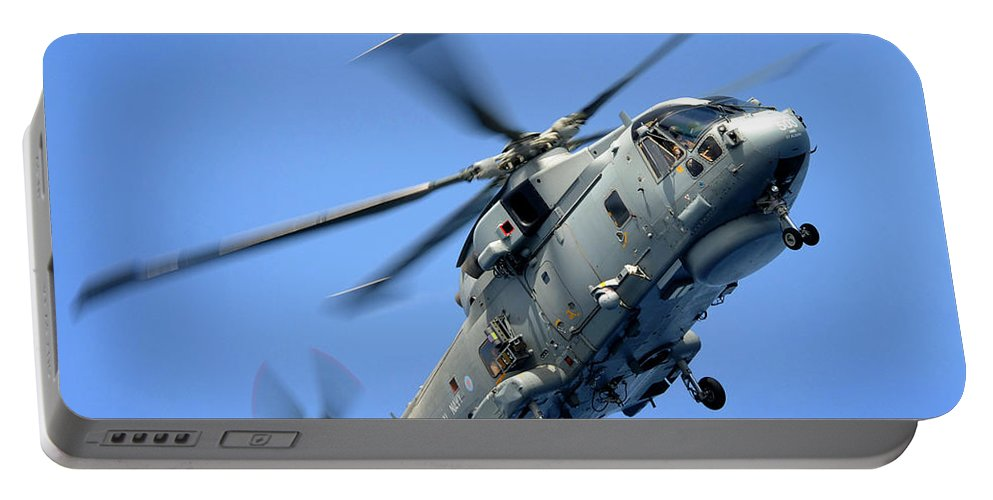 Hm Mk1 Portable Battery Charger featuring the photograph A Merlin Helicopter by Paul Fearn