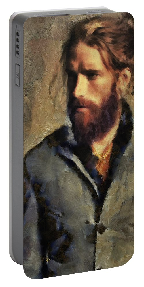 Men.man.male Portable Battery Charger featuring the painting A Modern Day Edouard by Janice MacLellan