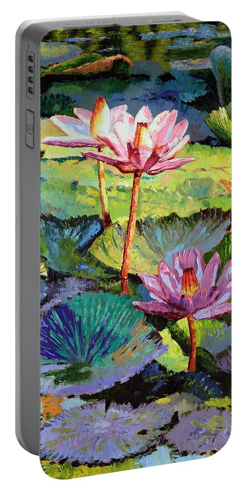 Water Lilies Portable Battery Charger featuring the painting A Moment In Sunlight by John Lautermilch