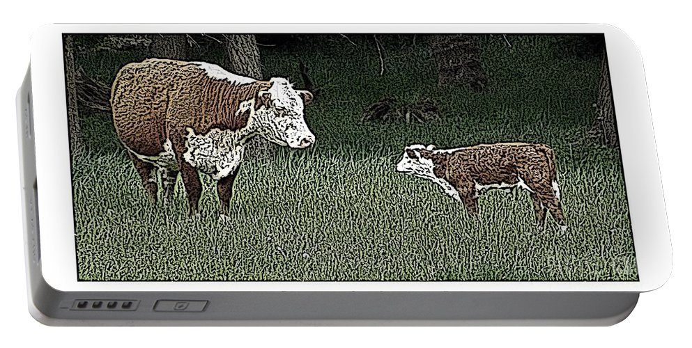 Cow Portable Battery Charger featuring the photograph A Mother's Love by Sara Raber