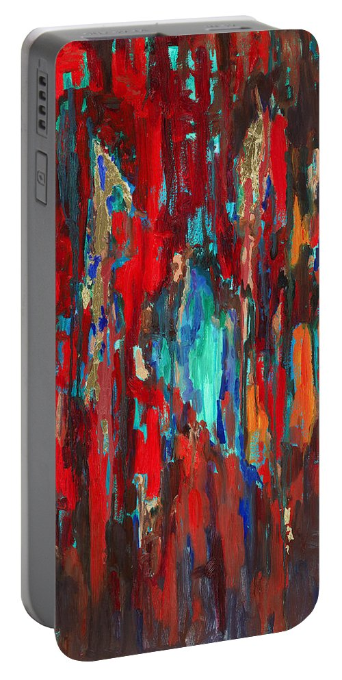 Abstract Art Portable Battery Charger featuring the painting A New Beginning by Billie Colson