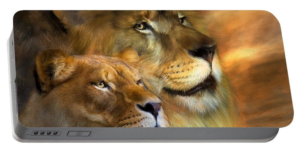 Lion Portable Battery Charger featuring the mixed media A New Dawn by Carol Cavalaris