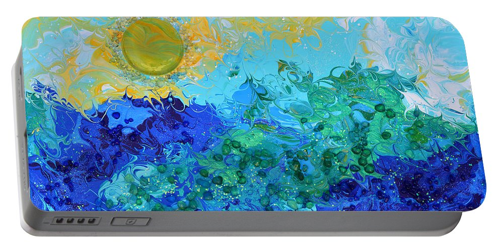 Sun Portable Battery Charger featuring the painting A New Day Full Of Promises by Donna Blackhall
