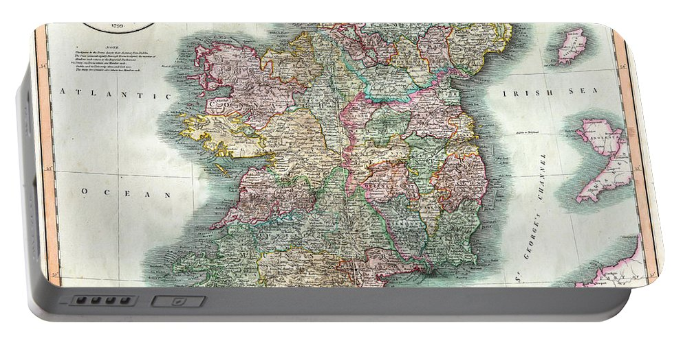 A Portable Battery Charger featuring the photograph A New Map Of Ireland 1799 by Bill Cannon