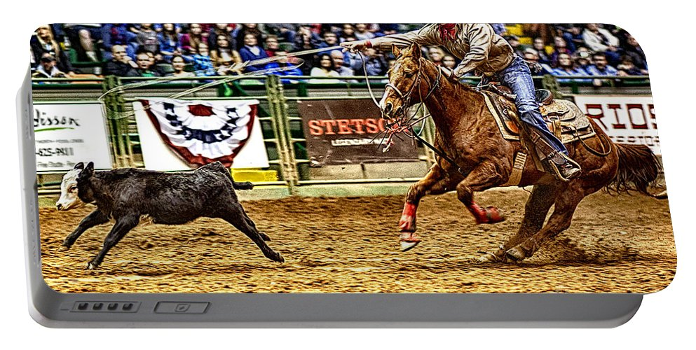 Night Portable Battery Charger featuring the photograph A Night At The Rodeo V10 by Douglas Barnard