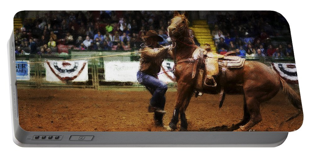 Night Portable Battery Charger featuring the photograph A Night At The Rodeo V13 by Douglas Barnard