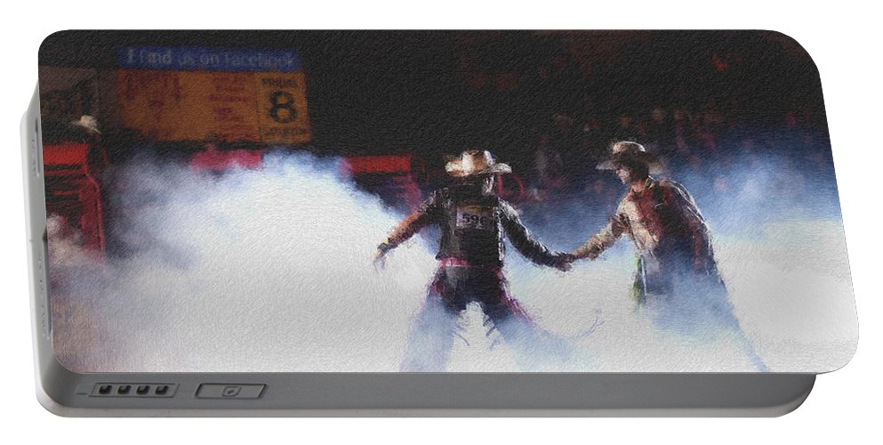 Night Portable Battery Charger featuring the photograph A Night At The Rodeo V3 by Douglas Barnard