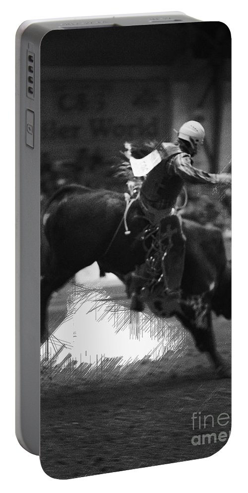 Night Portable Battery Charger featuring the photograph A Night At The Rodeo V4 by Douglas Barnard