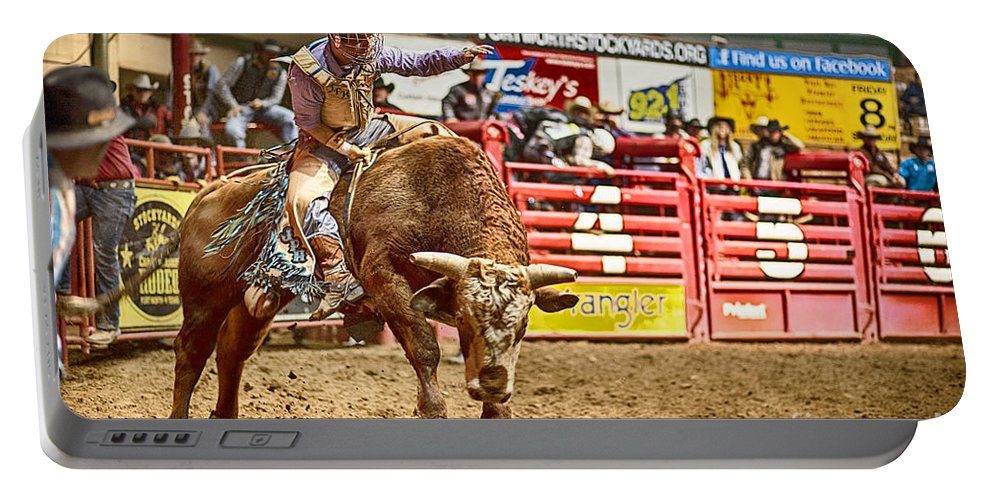 Night Portable Battery Charger featuring the photograph A Night At The Rodeo V5 by Douglas Barnard