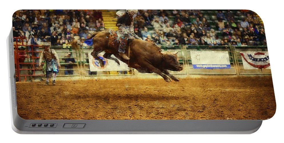 Night Portable Battery Charger featuring the photograph A Night At The Rodeo V7 by Douglas Barnard