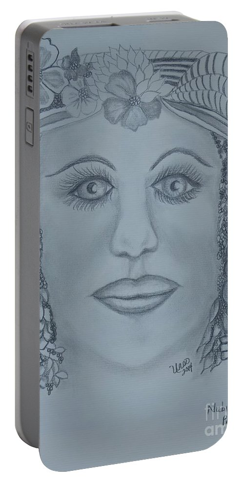 A Nubian Princess Portable Battery Charger featuring the drawing A Nubian Princess by Maria Urso