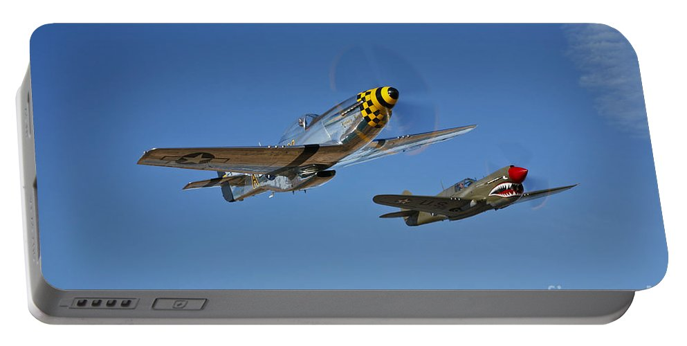 Horizontal Portable Battery Charger featuring the photograph A P-51d Mustang Kimberly Kaye by Scott Germain