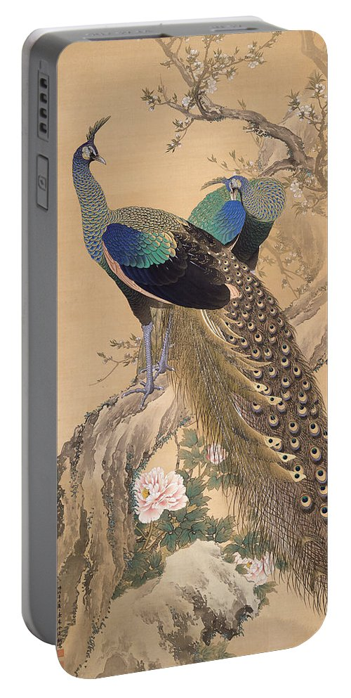 Imao Keinen Portable Battery Charger featuring the painting A Pair Of Peacocks In Spring by Imao Keinen