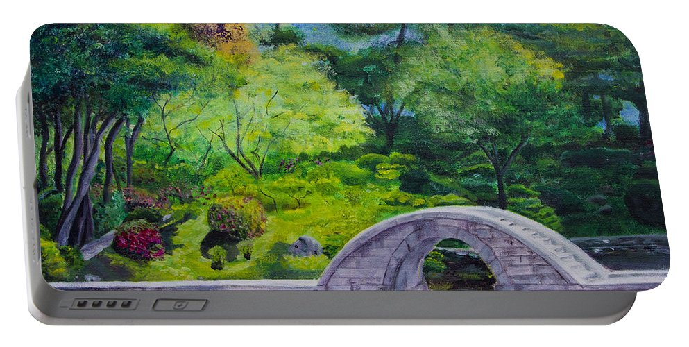 Bridge Portable Battery Charger featuring the painting A Peaceful Place In Hiroshima by Jo-Anne Gazo-McKim