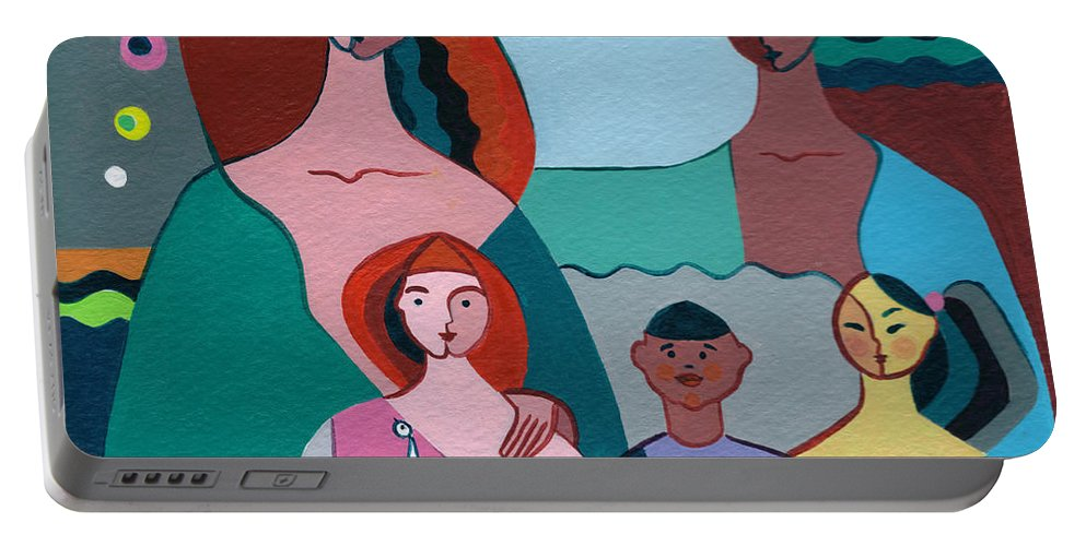 Peace Portable Battery Charger featuring the painting A Peaceful World For Our Children by Elisabeta Hermann