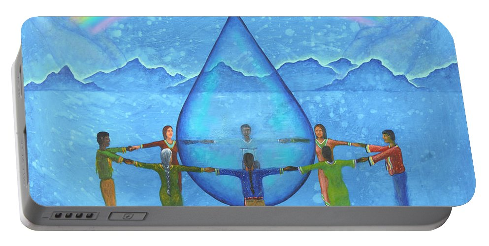 Native American Portable Battery Charger featuring the painting A Prayer For Water by Kevin Chasing Wolf Hutchins