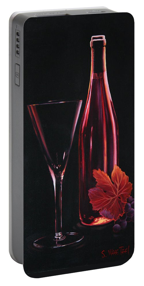 Red Portable Battery Charger featuring the painting A Prelude To Romance by Sandi Whetzel