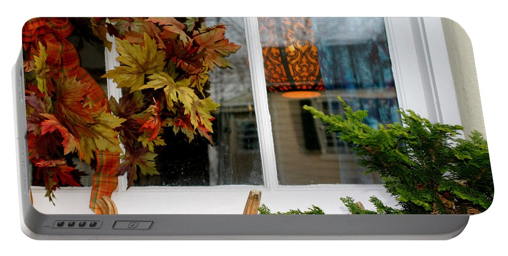 Window Portable Battery Charger featuring the photograph A Pretty Autumn Window by Living Color Photography Lorraine Lynch