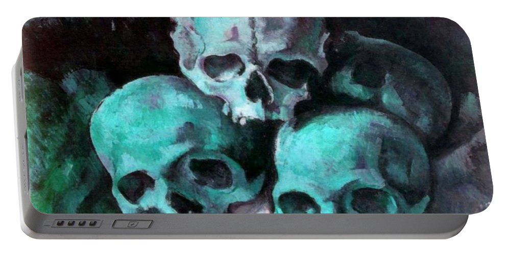 Halloween Portable Battery Charger featuring the painting A Pyramid Of Skulls After Cezanne by Taiche Acrylic Art