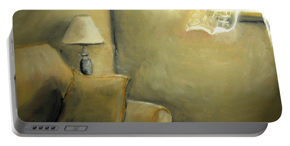 Interior Portable Battery Charger featuring the painting A Quiet Room by Katy Hawk