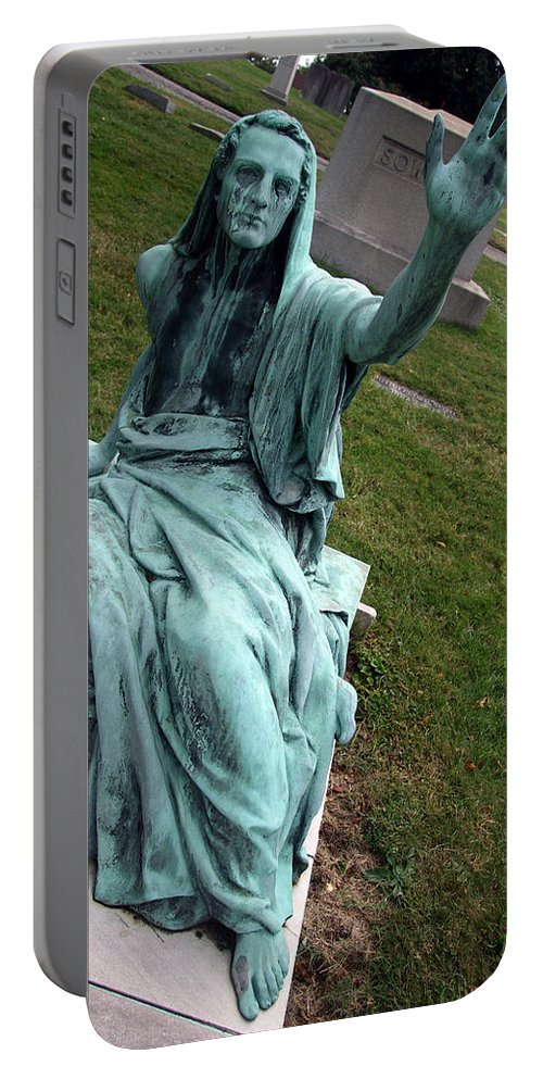 Thomas Portable Battery Charger featuring the photograph A Raised Hand -- Thomas Trueman Gaff Memorial -- 2 by Cora Wandel