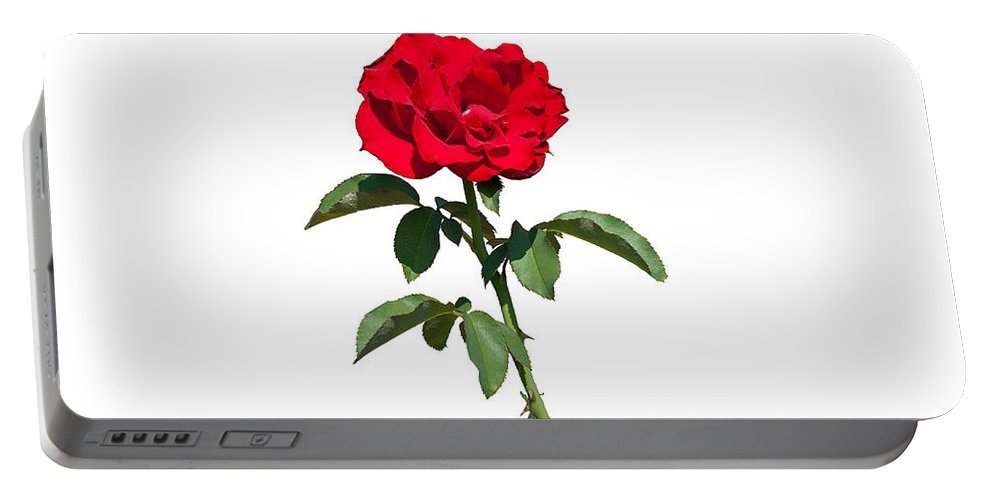 Flower Portable Battery Charger featuring the photograph A Red Rose On White by John M Bailey