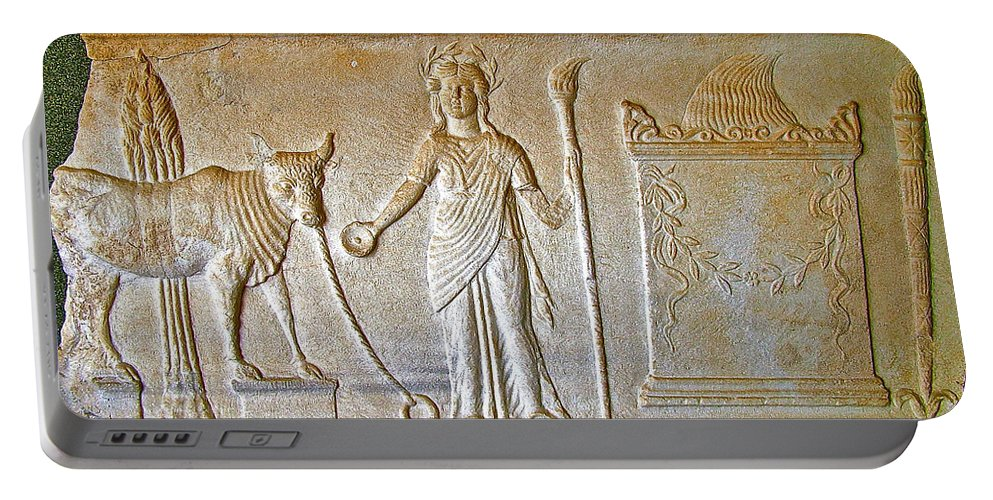 A Relief In Bergama Museum Portable Battery Charger featuring the photograph A Relief In Bergama Museum-turkey by Ruth Hager