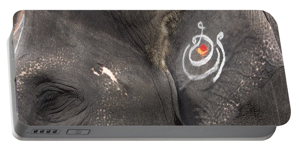 Asia Portable Battery Charger featuring the photograph A Religiously Decorated Ear Of An by David H. Wells