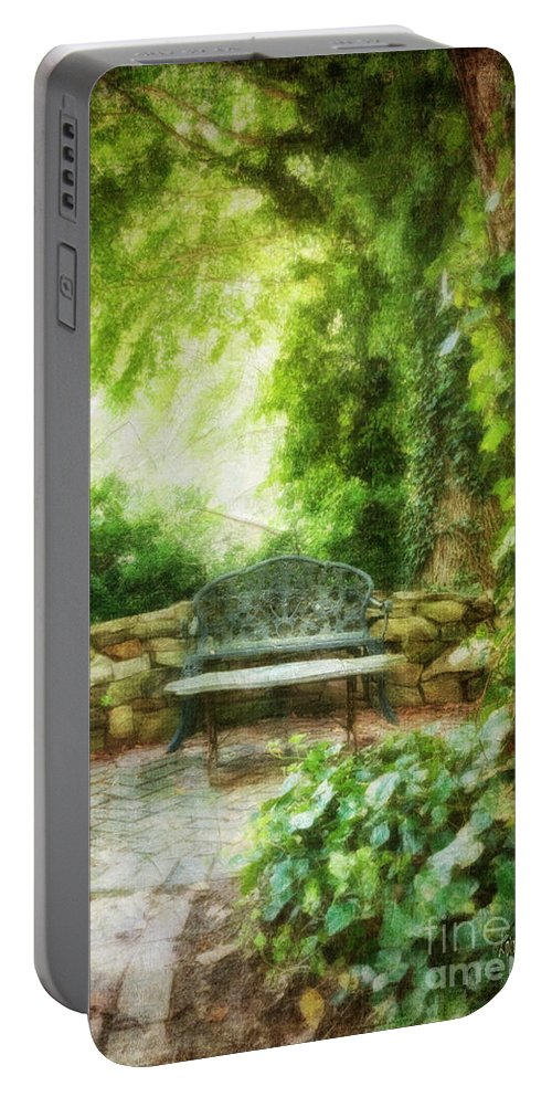 Bench Portable Battery Charger featuring the photograph A Restful Retreat by Lois Bryan