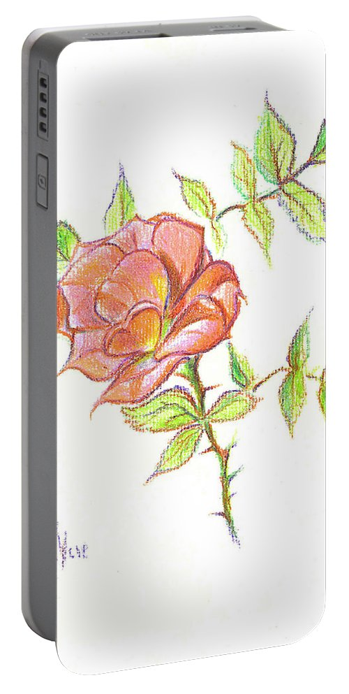 A Rose In Brigadoon Portable Battery Charger featuring the drawing A Rose In Brigadoon by Kip DeVore