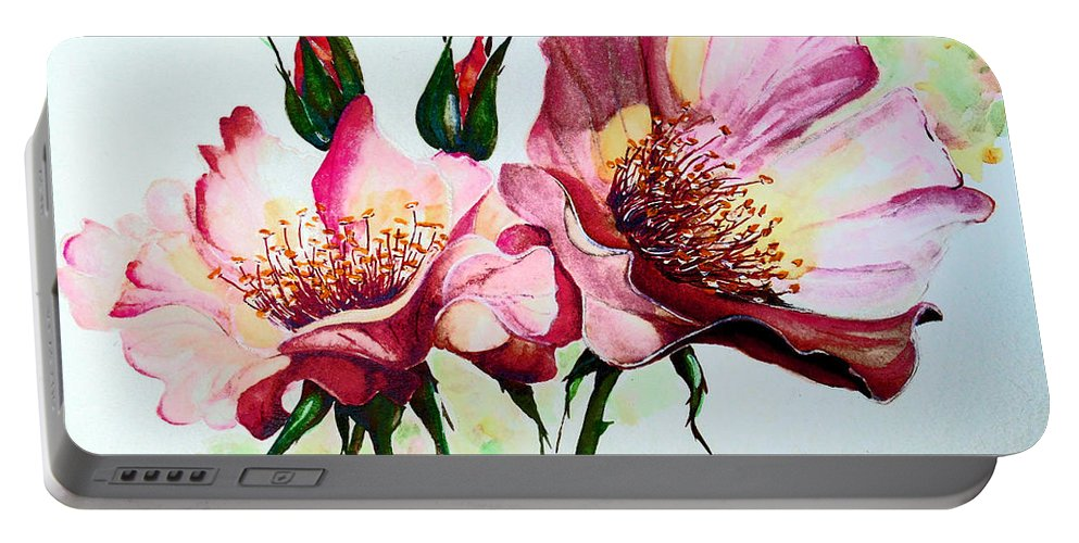 Flower Painting Portable Battery Charger featuring the painting A Rose Is A Rose by Karin Dawn Kelshall- Best