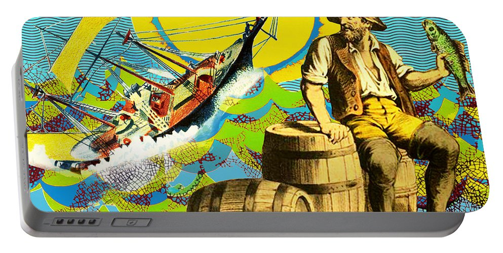 A Salty Dog Portable Battery Charger featuring the mixed media A Salty Dog by Dominic Piperata