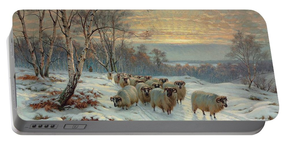 Shepherd Portable Battery Charger featuring the painting A Shepherd With His Flock In A Winter Landscape by Wright Baker