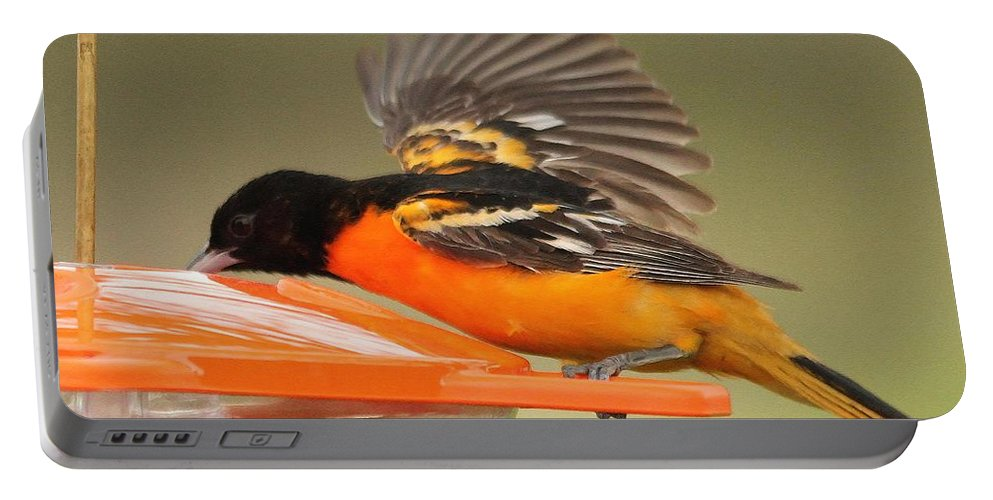 Mccombie Portable Battery Charger featuring the painting A Sip From The Other Side by J McCombie