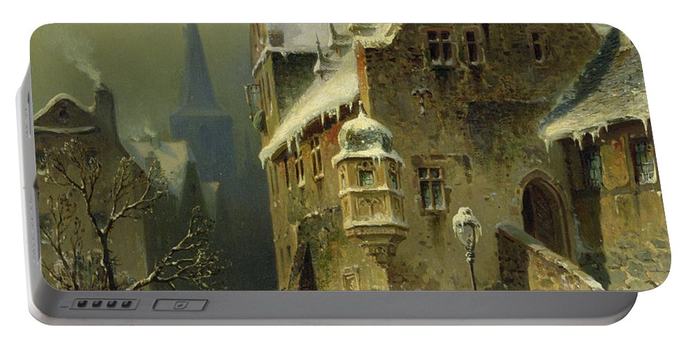 Schlieker Portable Battery Charger featuring the painting A Small Town in the Rhine by August Schlieker