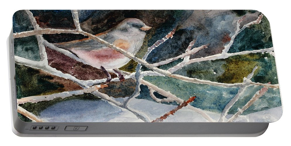 Birds Portable Battery Charger featuring the painting A Snowy Perch by Mary Benke