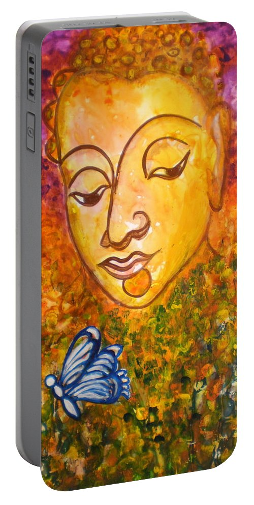 Abstract Print Art Painting Buddha Butterfly Purple Inspirational Traditional Yellow Red Orange Portable Battery Charger featuring the photograph A Soulful Journey by Manjiri Kanvinde