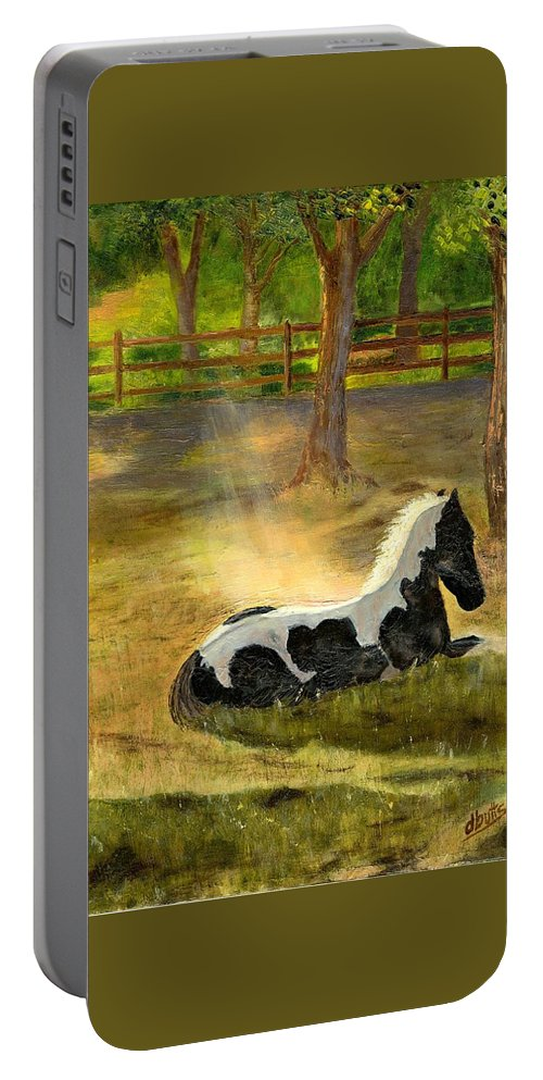 Horse Art Portable Battery Charger featuring the painting A Spot In The Sun by Deborah Butts