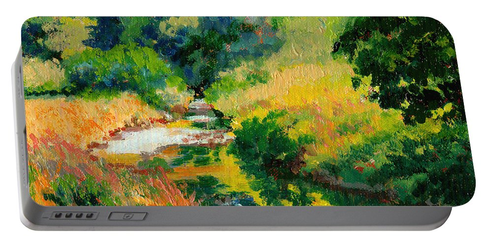 Impressionism Portable Battery Charger featuring the painting A Summer Brook by Keith Burgess