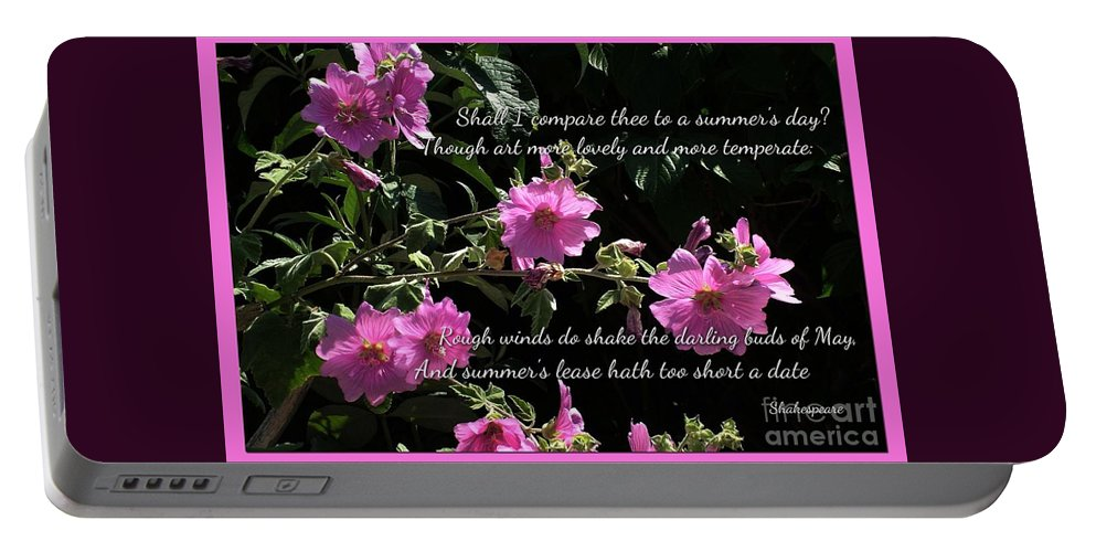 Pink Blossoms Portable Battery Charger featuring the photograph A Summer's Day Pink Romance by Joan-Violet Stretch
