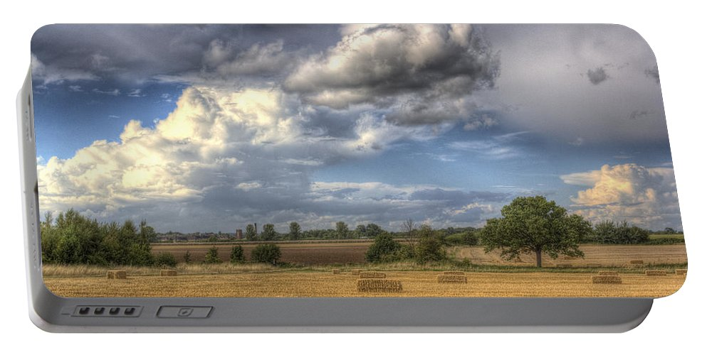 Farm Portable Battery Charger featuring the photograph A Summers Evening Farm by David Pyatt