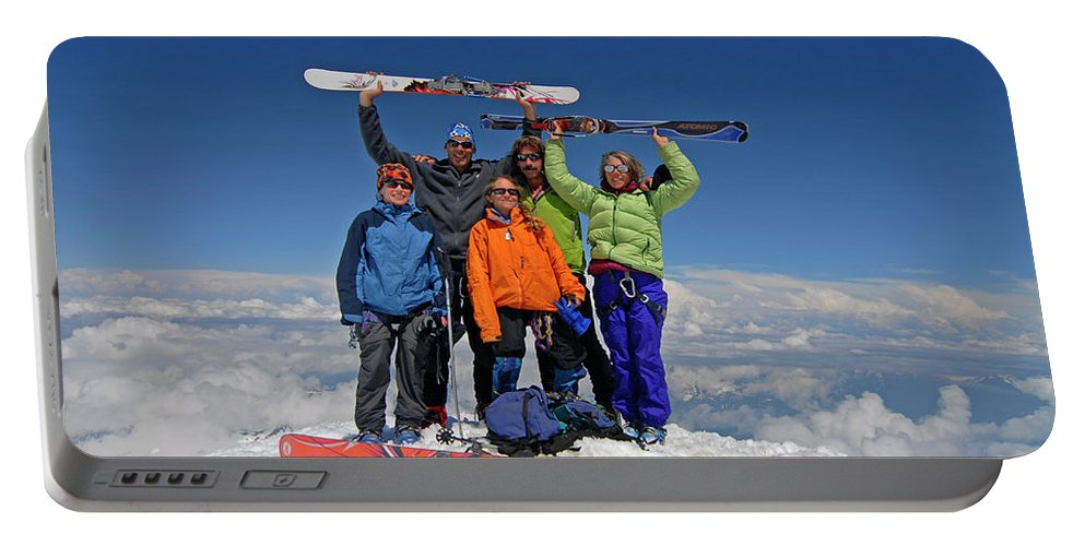 Achievement Portable Battery Charger featuring the photograph A Team Of Climbers Celebrate by Cliff Leight