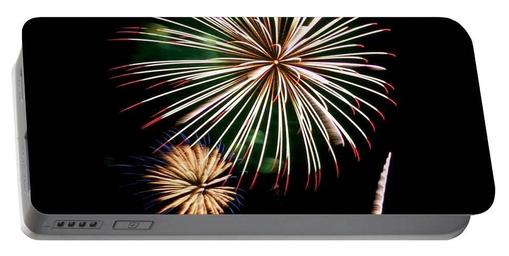 Fireworks Portable Battery Charger featuring the photograph A Touch Of Green by Kathy McCabe