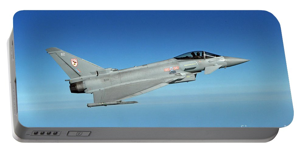 Air Defence Portable Battery Charger featuring the photograph A Typhoon Aircraft From 29 Squadron Royal Air Force by Paul Fearn