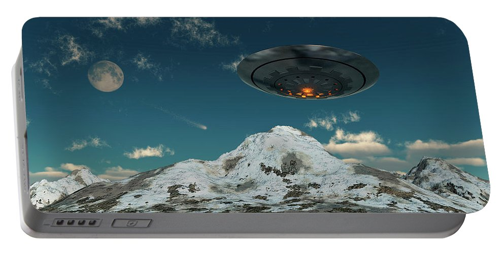 Horizontal Portable Battery Charger featuring the photograph A Ufo Flying Over A Mountain Range by Mark Stevenson