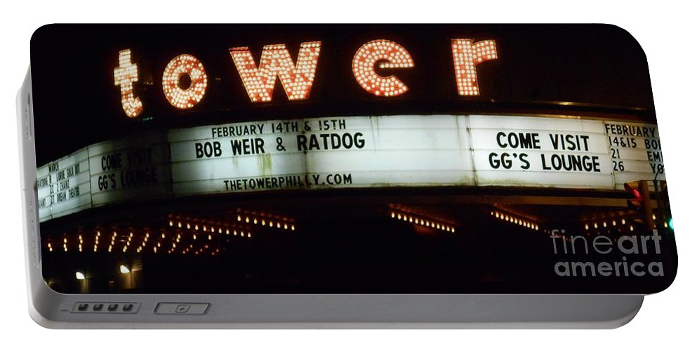 The Tower Theater Portable Battery Charger featuring the photograph A Valentines Weekend With Ratdog Tower Theater Marquis by Kevin J Cooper Artwork