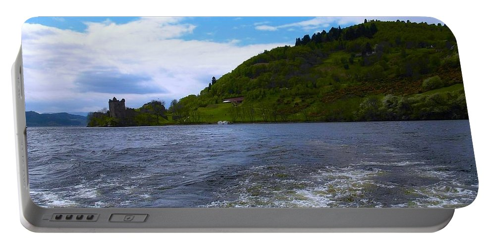 Urquhart Castle Portable Battery Charger featuring the photograph A View Of Urquhart Castle by Joan-Violet Stretch