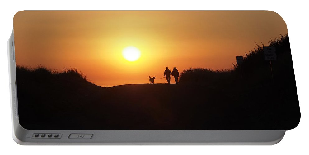 Sunset Portable Battery Charger featuring the photograph A Walk At Sunset by Jacklyn Duryea Fraizer