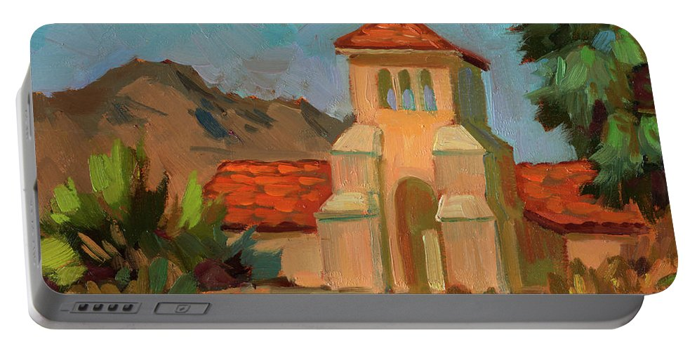 Warm Day Portable Battery Charger featuring the painting A Warm Day At Borrego Springs Lutheran by Diane McClary