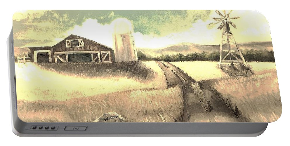 Farm Portable Battery Charger featuring the painting A Warm Welcome Antique by Shana Rowe Jackson